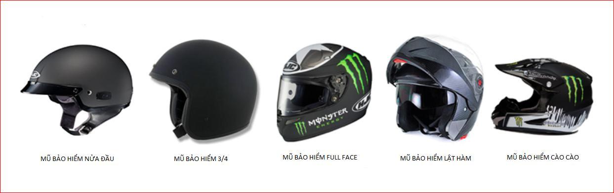 Những mũ bảo hiểm thường được sử dụng khi tham gia giao thông